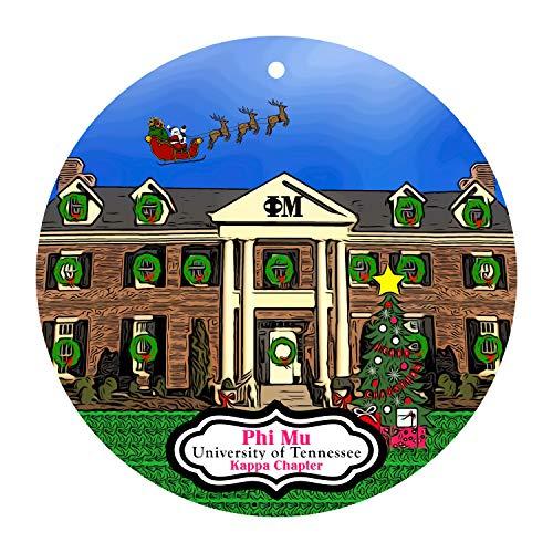 None-brands Christmas Xmas Decor 2020 Ornament Phi Mu Sorority House at the University of Tennessee Knoxville Xmas Ornament - Kappa Chapter - ΦΜ - TN - UT Xmas 2020