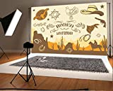 Cowboy Rodeo Background Laeacco 7x5ft Vinyl Photo Backdrop Photography Background Wild West Western Land Extremes Cowboy Hat Tools Illustration Picture Wall Cartoon Design Children Kids Photo Prop