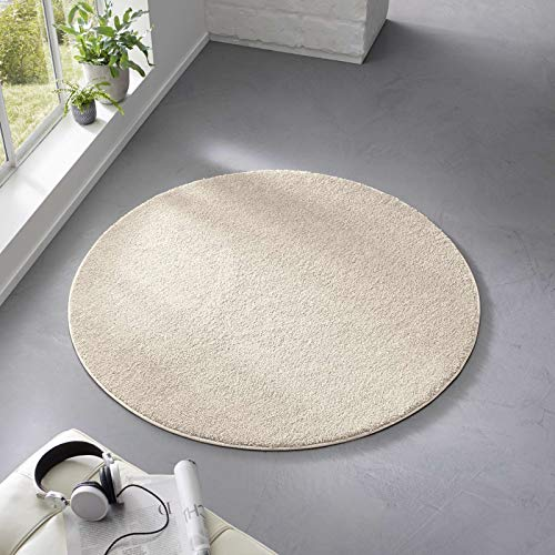 Taracarpet Teppich Kurzflor weicher Designer Uni Bodenbelag Madrid fürs Wohnzimmer, Kinderzimmer, Schlafzimmer und die Küche geeignet Creme Weiss 120cm rund