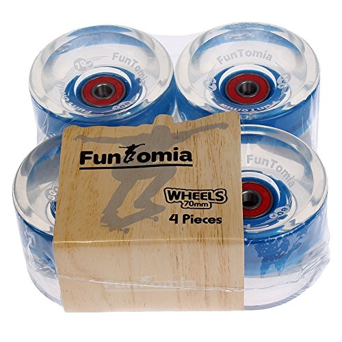 FunTomia 4 Stück (LED) Longboard/Skateboard Rollen (Big Wheels) in 70x51mm 80A inkl. Mach1® Kugellager und Metall Spacer 80A Rollenhärte