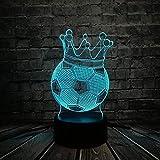 LSDAMN Lámpara de ilusión 3D Fútbol creativo Trono de la corona imperial 3D Lámpara LED USB Primer premio Sporting Boy Regalo para jugador de fútbol Bombilla colorida
