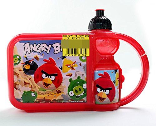 Exclusiv * Angry Birds Bouteille + Boîte à pain Petit Déjeuner Set Acier Neuf