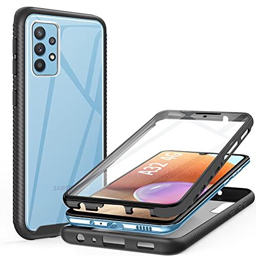 ivencase Coque Compatible avec Samsung Galaxy A32 4G, Antichoc 360 Degrés Protection avec TPU Protection Écran Anti-Rayures Integrale Case Etui Housse (Noir)