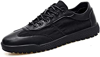 XUJW-Shoes, Skate Sneakers for Men Microfiber Leather and Fabric Upper Fashion Casual Walking Shoes Lightweight Cozy Breathable Anti-Slip Durable Flat Lace Up (Color : Black, Size : 8.5 UK)