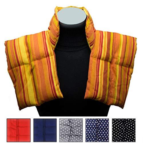 Wärmekissen mit Kragen für Nacken und Schultern - Körnerkissen zum Erwärmen - Natürliches Getreidekissen mit Multi-Kammersystem (orange)