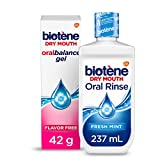 Biotene Fresh Mint Moisturizing Oral Rinse Mouthwash, Alcohol-Free, for Dry Mouth, 33.8 ounce & Biotene OralBalance Moisturizing Gel Flavor-Free, 1.5 ounce (Packaging May Vary) -  Biotène