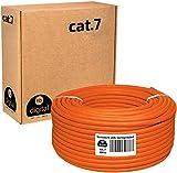 HB-Digital 100m Cat. 7 LAN Cabel di rete Cavo di installazione Ethernet Cabel Rame Profi S/FTP PIMF LSZH Giallo senza alogeni conforme alla direttiva RoHS Cat7 AWG 23/1 Colore: arancione