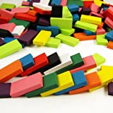 Eshowy 240pcs Dominos Set Wooden Block Game Machine Domino Blocks Set Racing Toy Game Building and Stacking Toy Blocks
