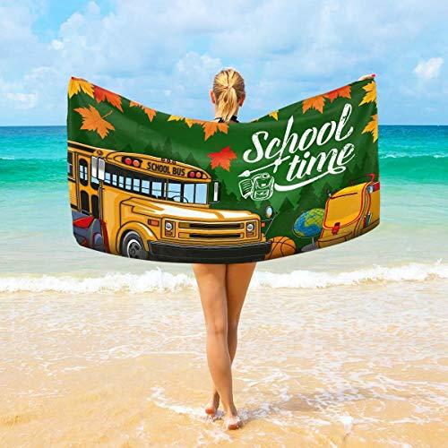 Jacklee Microfiber Beach Handdoeken School Tijd Lettering Bus Esdoorn Leaf Grote Reizen Handdoek - ultra absorberende Quick Dry Gym Handdoek voor Mannen, Vrouwen & Kinderen
