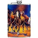 Frasco de acero inoxidable portátil de 8 onzas frasco de licor plano whisky flagon taza con embudo blanco marrón caballo