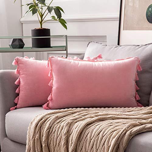 MIULEE Pack de 2 Terciopelo Funda de Borla Cojine Fundas Almohada del Sofá Throw Cojín Decoración Caso de la Cubierta Decorativo Almohadas para Sala de Estar 12x20inch 30x50cm Sakura Rosa