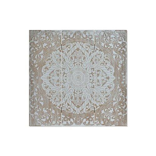 D,casa Panel Decoracion Pared de Madera Mandala, Natural y Blanco, 50 x 2 x 50 cm
