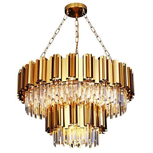 Modern Crystal Chandeliers, Gold Round Chandelier Light Fixture, 2-Tier Raindrop Chandelier Pool...