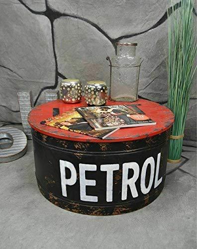 Livitat® Couchtisch Beistelltisch rund Metall Ölfass Vintage Industrie Look LOFT Shabby LV5021 (Schwarz)