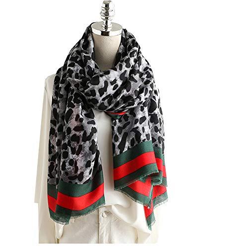 DYEWD sjaal van katoen en linnen, hoogwaardig, warm, dik, voor herfst en winter, lange sjaal, dames Gris Leopard Print