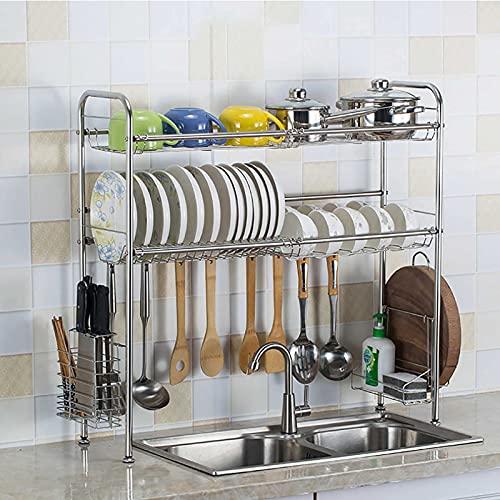 Sobre el bastidor de secado de plato de fregadero, plato grande de acero inoxidable con soporte de utensilio extraíble y ganchos de 8Utility, bastidor de plato resistente para encimera-plata 2-Nivel 6
