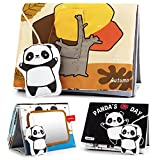 beiens Soft Baby Books, Panda High Contrast Black White Books, Touch and Feel Non-Toxic Crinkle Cloth Books with Tummy Time Mirror, Activity Development Floor Toys Gifts for Newborn, Infant