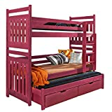 Triple Bunk Bed SAMBA Modern Trundle High Sleeper Mattress Drawers Ladder 3 Children Pine Wood FAST DELIVERY