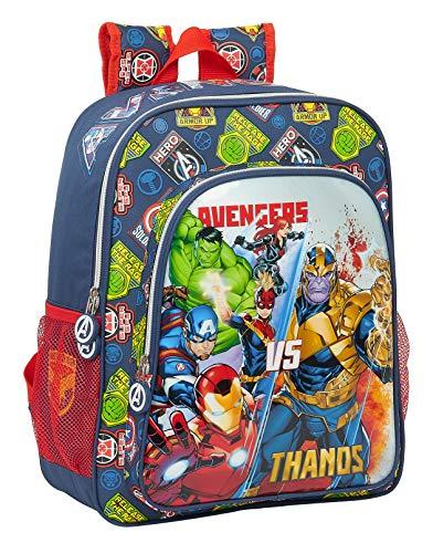 Safta Mochila Escolar Junior de Avengers Heroes Vs Thanos, 320x120x380mm, Azul Marino/Multicolor, M (M640)