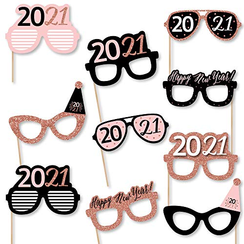 Big Dot of Happiness Rose Gold Happy New Year Glasses - Paper Card Stock 2021 New Years Eve Party Photo Booth Props Kit - 10 Count