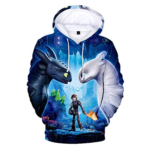 Coslover How to Train Your Dragon Toothless Hoodies Pullover 3D Printed Hooded Sweatshirt Adult and Kid - - Small