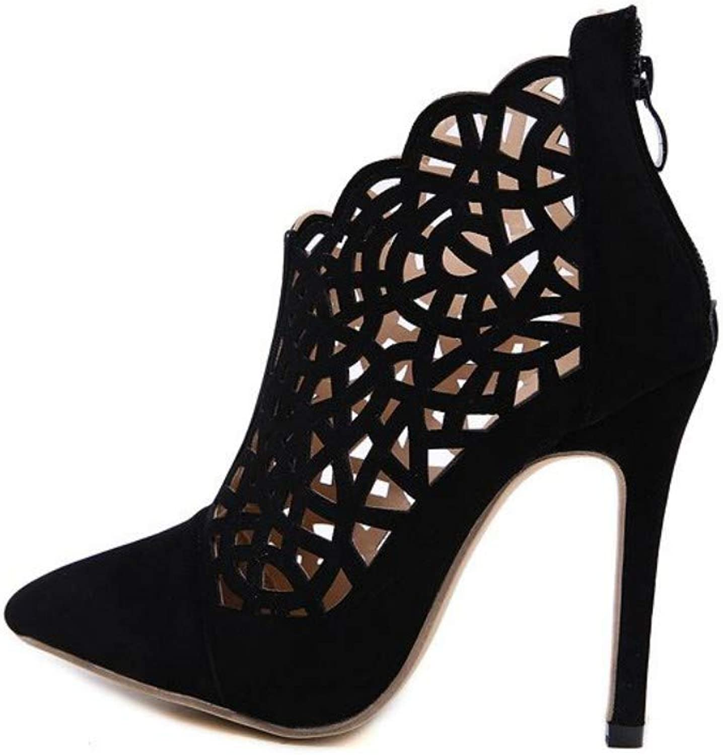 JQfashion Sexy Hollow-Out High-Heeled Sandals with Pointed Suede Heels