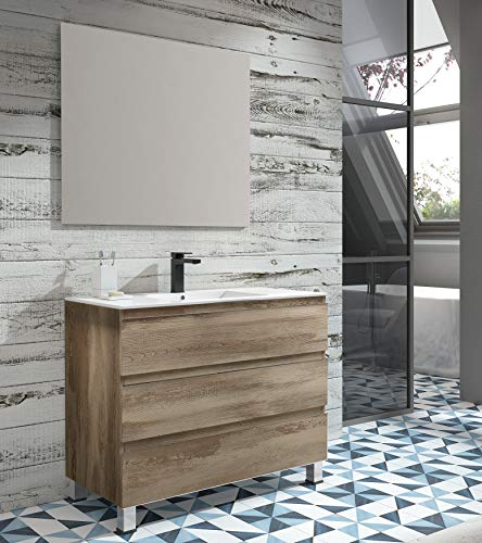 EL ALMACEN DEL PROFESIONAL Juego de Mueble de Baño Modelo Noruega Porcelana, Conjunto formado por Mueble de Baño Estilo Madera Color Bora-Bora Ancho 80cm, Lavabo de Porcelana y Espejo a Juego