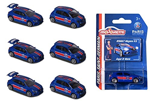 Majorette 212053061 Paris Saint Germain Renault – Coche de Juguete de Metal Aleatorio + Tarjeta Coleccionable Oficial para niños a Partir de 3 años, Color Azul