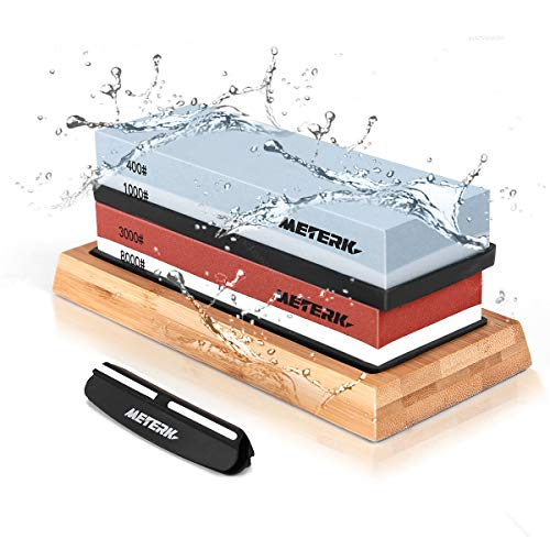 Sharpening Stone Set, Meterk Whetstone 4 Side Grit 400/1000 3000/8000 Knife Sharpening Kit with Bamboo Base, Non-Slip Rubber Base and Angle Guide