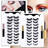20 Kinds of 3D 5D Magnetic Eyelash Kit with Different Density, Magnetic Eyelashes with 4 Magnetic Eyeliners and 2 Tweezers, for Women and Girls Natural Look No Glue Needed.