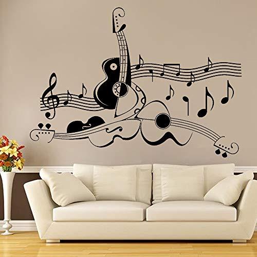 Muziekkamer Gitaardecoratie Muursticker Abstract Gitaar Bladmuziek Cool Home Woonkamer Decoratie Vinylkunst Muurtattoo 42x30cm