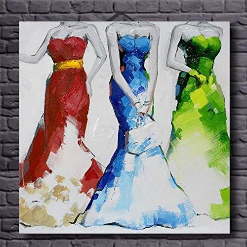 Olieverfschilderij, handbeschilderd, op canvas, abstracte figuur, jurk, geel/groen-rood, voor dames, wanddecoratie, grote afmetingen, moderne kunst, voor entrees, woonkamer 50 x 50 cm