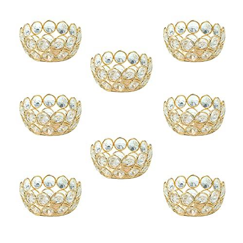 VINCIGANT Teelichthalter, goldfarbene Kristalle, Votivkerzenständer für Zuhause, Hochzeit, Party, als Tafelaufsatz