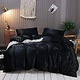 Omela Satin Bettwäsche Set 155x220 Schwarz Einfarbig Unifarben Glatt Bettbezug mit Reißverschluss 2 Teilig 100% Glanzsatin Polyester Sommerbettwäsche und Kissenbezug 80x80 cm