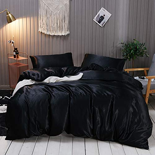 Omela Satin Bettwäsche Set 135x200 Schwarz Einfarbig Unifarben Glatt Bettbezug mit Reißverschluss 2 Teilig 100% Glanzsatin Polyester Sommerbettwäsche und Kissenbezug 80x80 cm