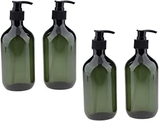MagiDeal 4Pcs Empty Pump Bottles, 500ml Refillable Shampoo & Conditioner Dispenser Green Plastic Shower Containers for Bathroom Lotion Body Wash Massage Oils