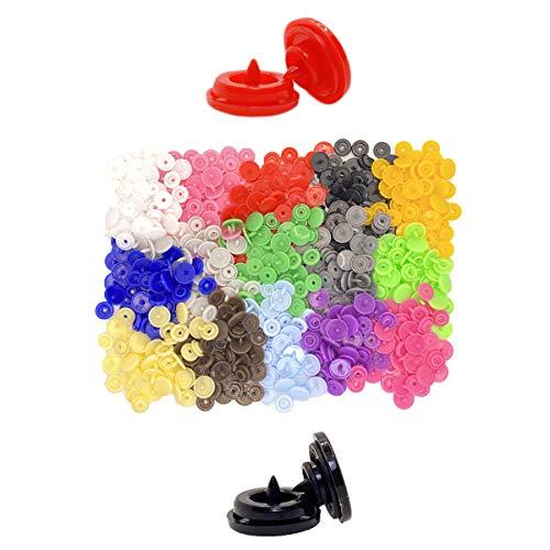Snaps de colores plástico tamaño T5, botones a presión +15 colores, 600 piezas, 150 sets.