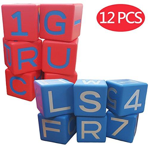 Macro Giant 8cmのアルファベットキューブ 12のセット 赤 + ブルー 教育語学学習援助 アラビア数字0-9 親子...