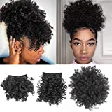 Afro Puff Drawstring Ponytail with Bangs Pineapple Updo Hair for African American Women,Short Kinky Curly Ponytail Bun with 2 Replaceable Bangs(#1B-Black)