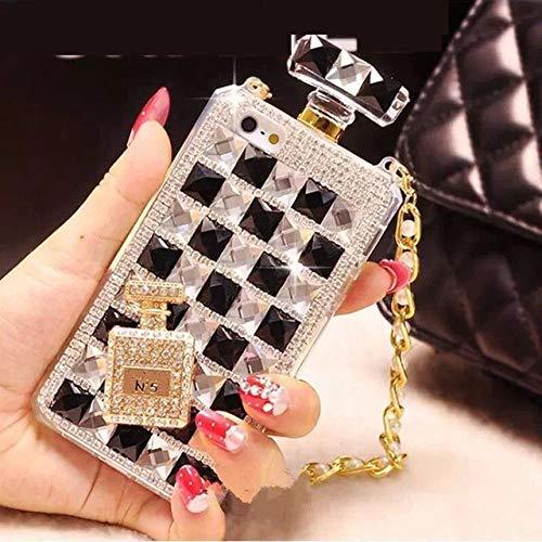LIUYAWEI Botella de Perfume de Diamantes Caja de teléfono con Diamantes de imitación DIY con Cadena para iPhone 6 6plus 7 8plus X XR XS MAX Samsung S8 S9 S10 S10e, Negro, para Galaxy S10 Lite