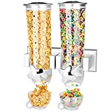 Wall Mount Dry Food Dispenser/Double Cereal Dispenser,Convenient Storage Dual Control for Cereal Nuts Beans Trail Mix Candy Granola Rice Pasta Container 7.5oz Each Cereals Bank