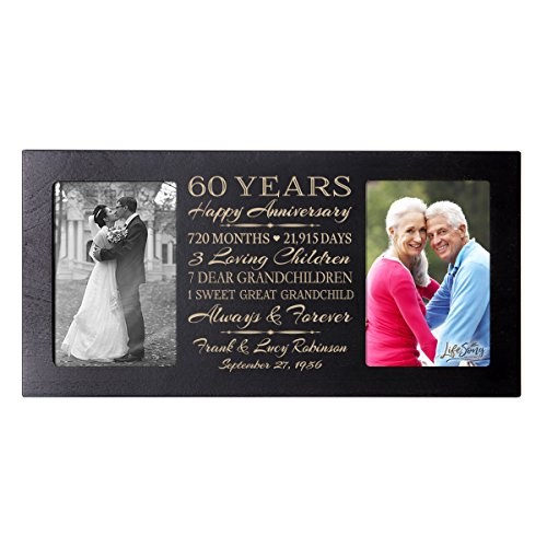 LifeSong Milestones Personalized 60 Year her him Couple Custom Engraved Wedding Celebration for Husband Wife Girlfriend Boyfriend Photo Frame Holds Two 4x6 Photos (Black)