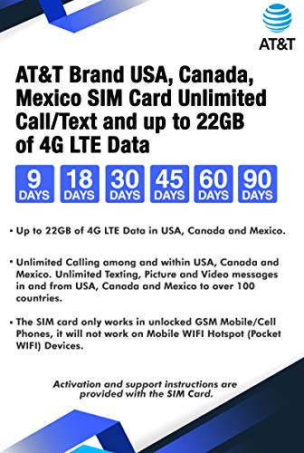 AT&T Brand USA, Canada and Mexico Prepaid Travel SIM Card Unlimited...