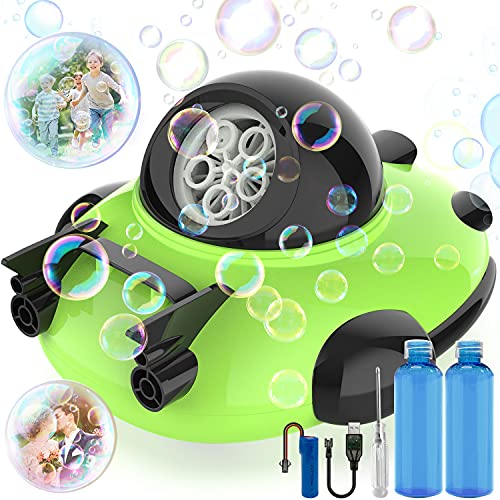 WEISIJI Bubble Machine,Automatic Bubble Maker Blower for Children,Durable Bubble Toys for Kids,Operated by Plug in Rechargeable Battery ,Easy to Use for Outdoor Indoor Party Birthday(Green)