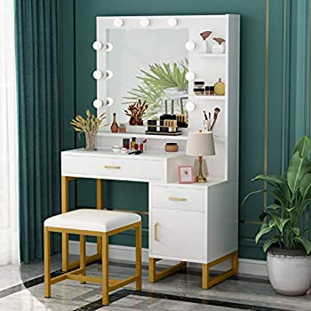 Tribesigns Vanity Set with Lighted Mirror & Stool Elegant Makeup Table Vanity Dresser with 9 Light Drawer Storage Shelves and Cabinet for Women Girls Dressing Table for Bedroom White and Gold
