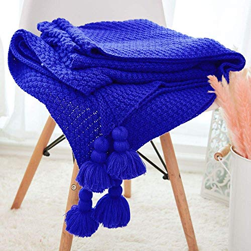 Home Decoration Nordic Fringe Knitted Pineapple Pattern Pendant Summer Air Conditioning Sofa Blanket Gift Royal Blue 130 * 170Cm