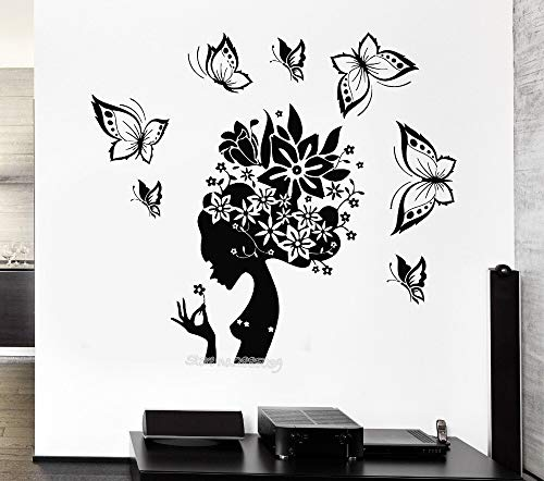 jtxqe Butterfly Beauty Woman Abstract Hair Girl Hall Los Angeles Wall Stickers Home Quotes Removable Wall Stickers For Home Wall Decoration 62X56Cm