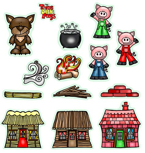 Three Little Pigs Story Set Flannel/ Felt Board Figures 14 Pieces PRECUT Plus Coloring Activity Pages