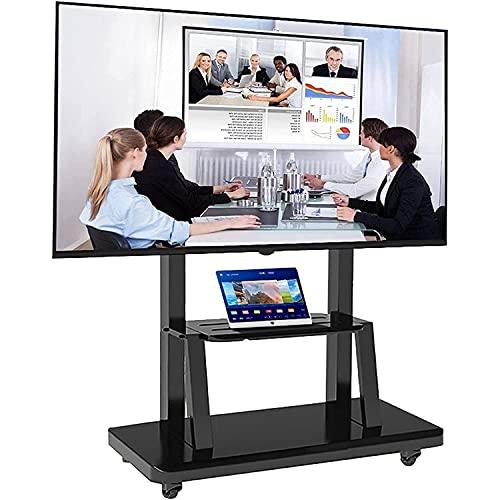 Soportes de TV móviles para pantallas planas (TV de 32-65 pulgadas), Soporte giratorio para TV de mesa, Carro de TV con ruedas para piso de metal con ruedas y estante, Estante de TV de dormitorio / s