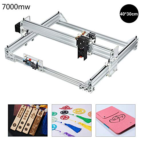 Laser Graviermaschine, Desktop 12V USB Engraver Carver, 40x30cm DIY CNC Laserengraver Kits, 2 Achsen Holzschnitzerei Gravierfräsmaschine (7000W)